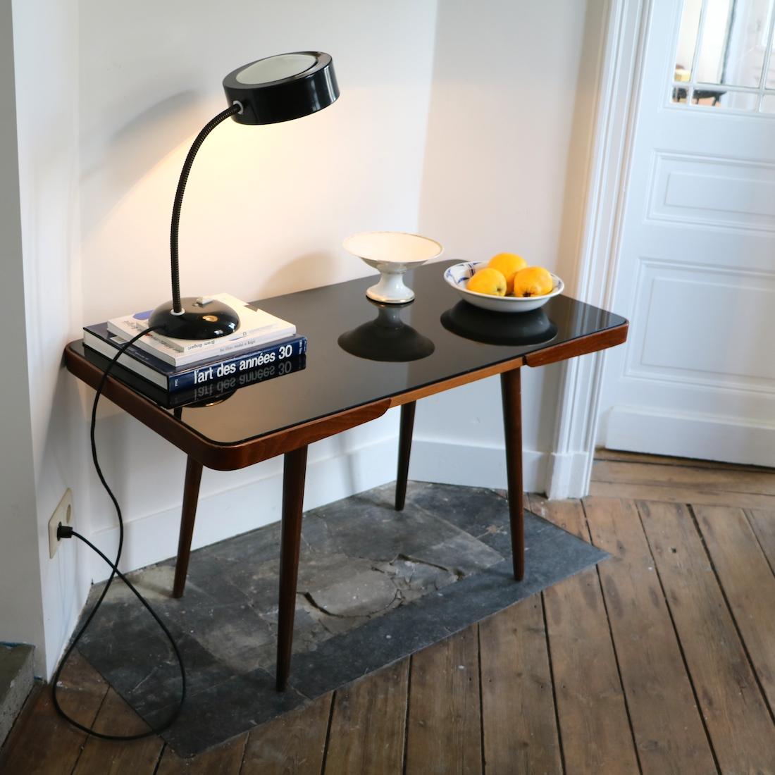 table d appoint pieds compas noire la maison bruxelloise. Black Bedroom Furniture Sets. Home Design Ideas