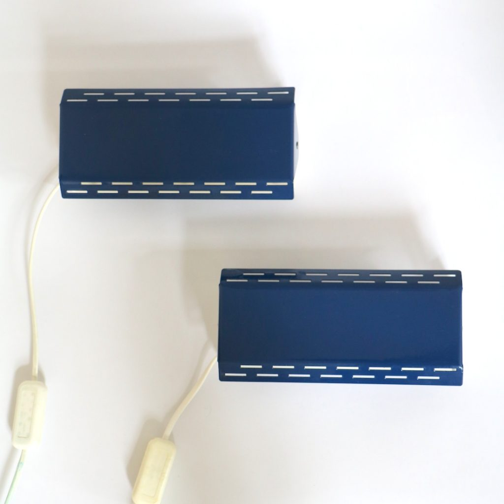 Paire d'appliques bleu marine