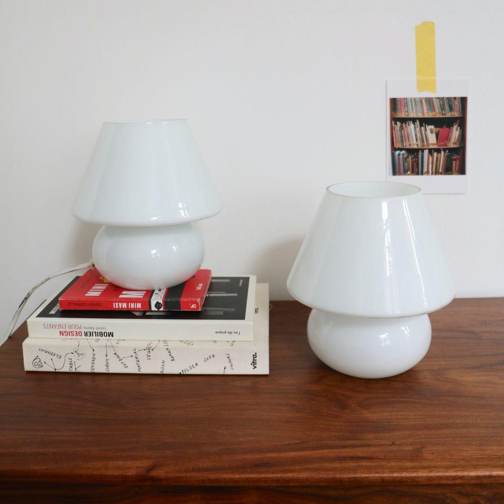 Paire de lampes italiennes en verre murano
