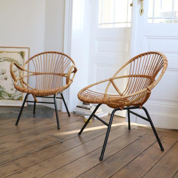 paire de fauteuils en rotin la maison bruxelloise. Black Bedroom Furniture Sets. Home Design Ideas