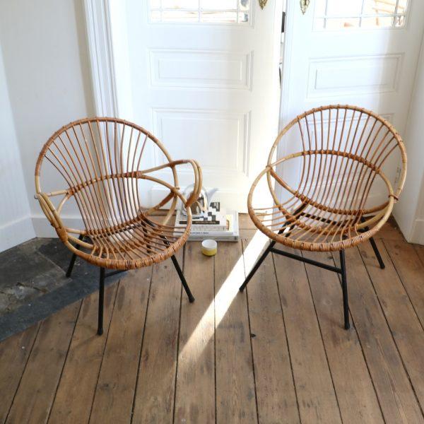 Paire de fauteuils en rotin la maison bruxelloise - Fauteuil boule rotin ...