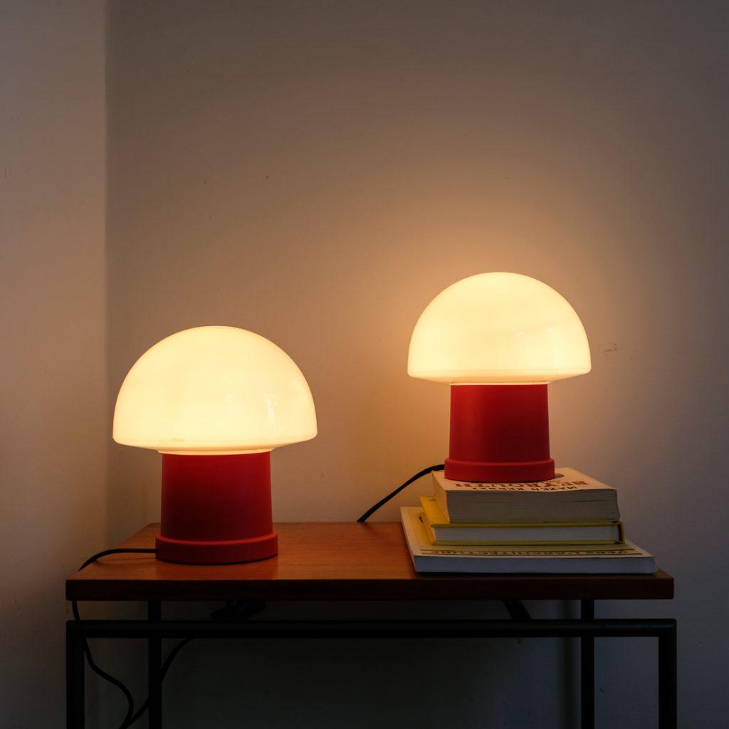 Paire de lampes de chevet mushroom