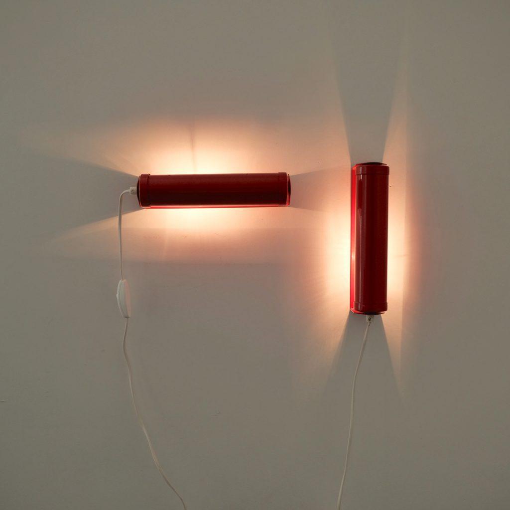 Paire d'appliques tube rouges