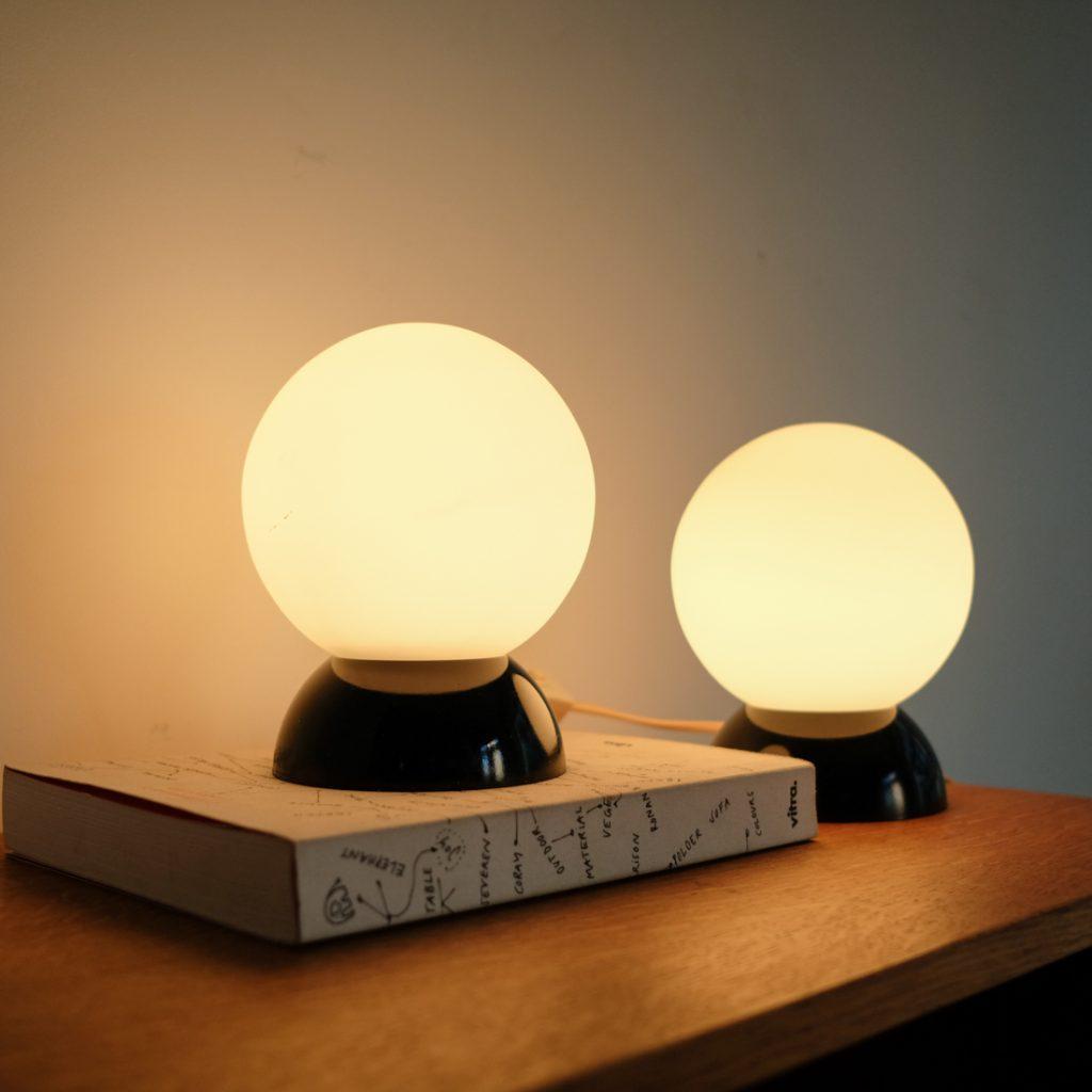 Paire de lampes en opaline