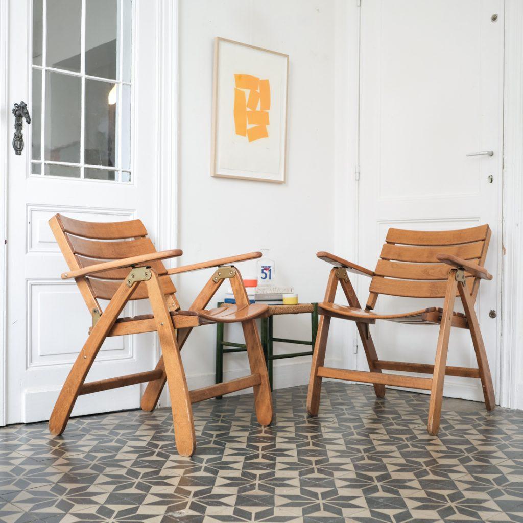Paire de fauteuils pliables