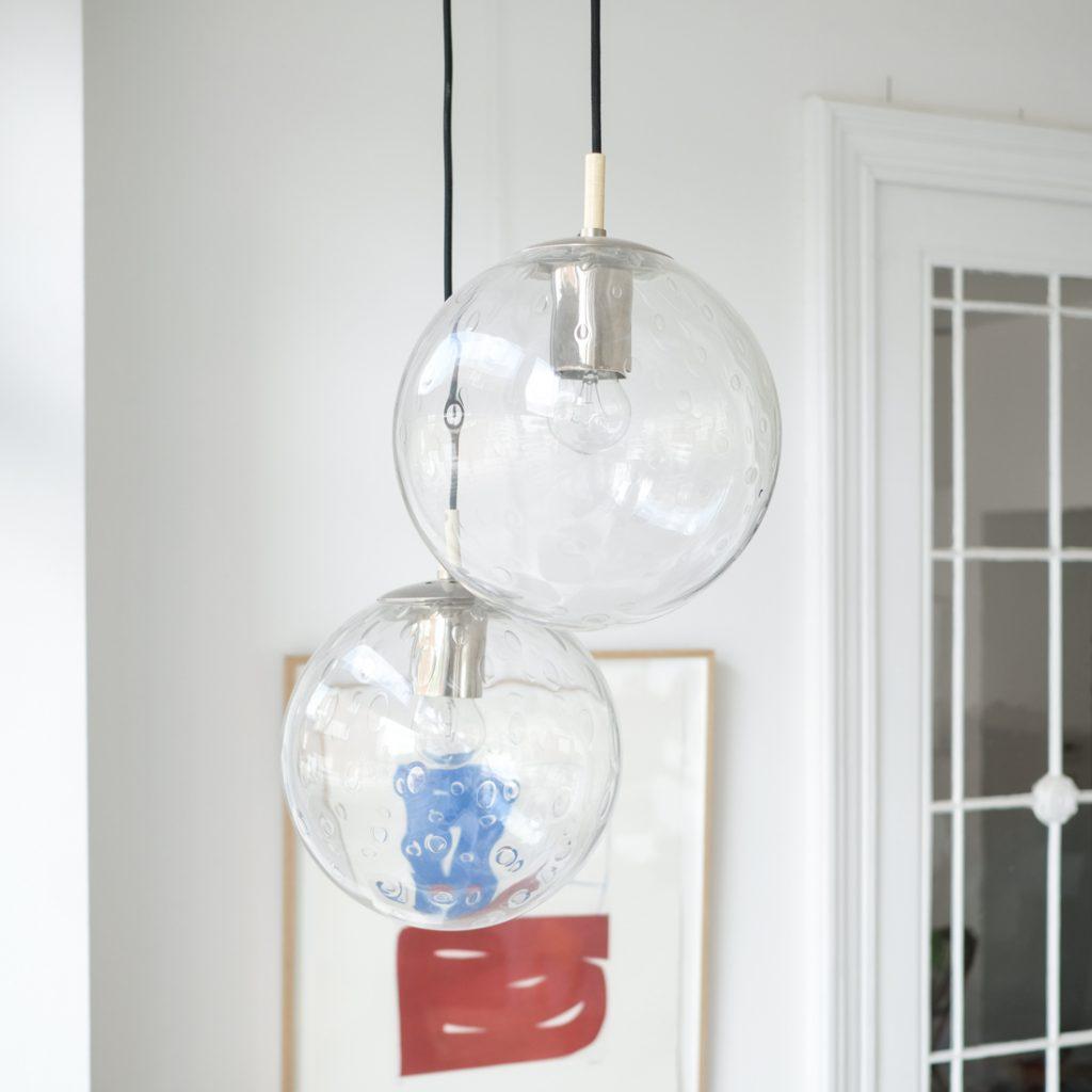 Paire de suspensions en verre à bulles