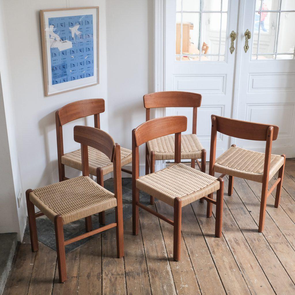 Série de 5 chaises en papercord