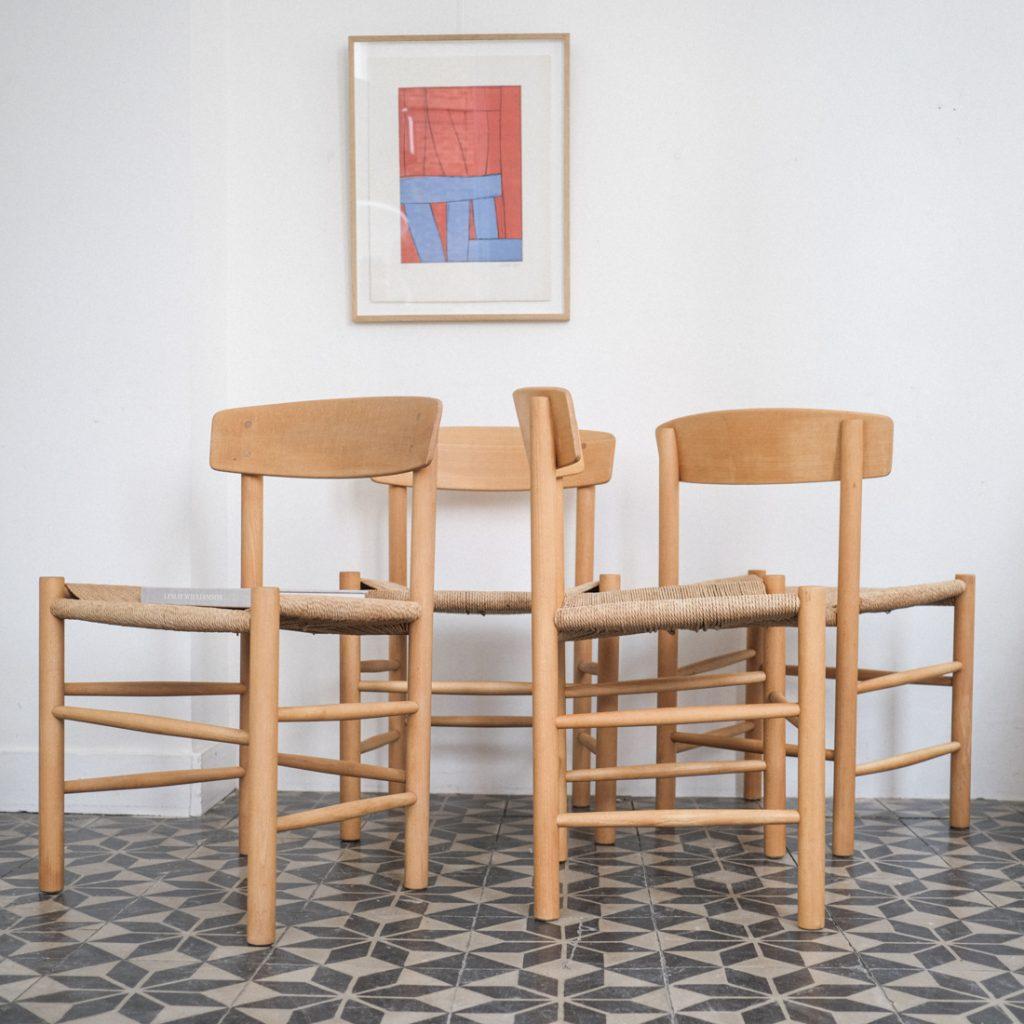 Série de 4 chaises en hêtre Borge Mogensen