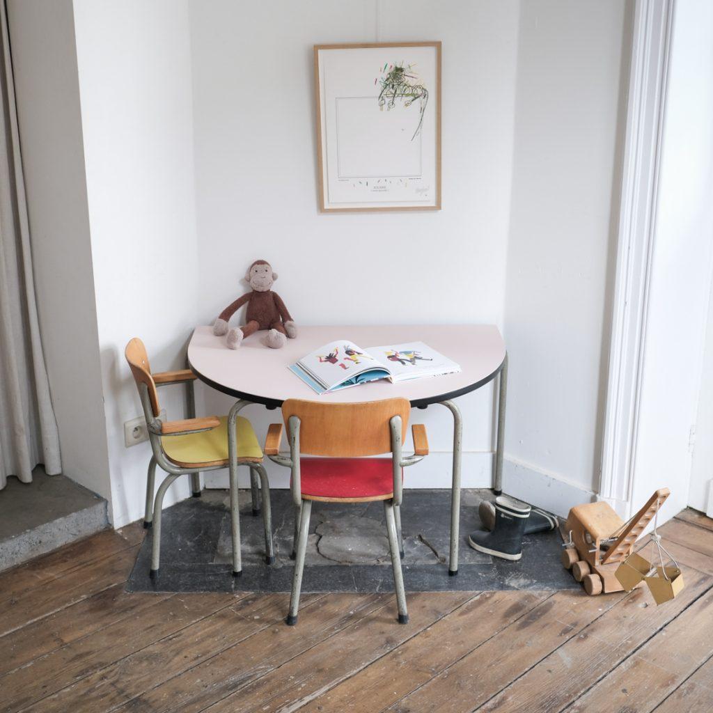 Table Tubax en demi-lune et ses 2 chaises