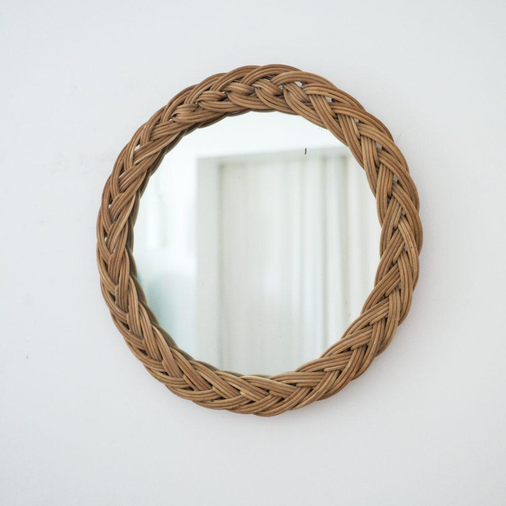 Miroir en rotin tressé