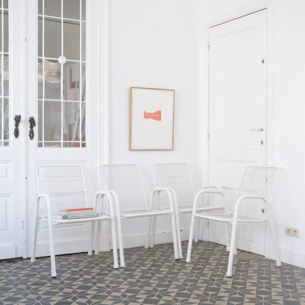 Série de 4 fauteuils de jardin en métal