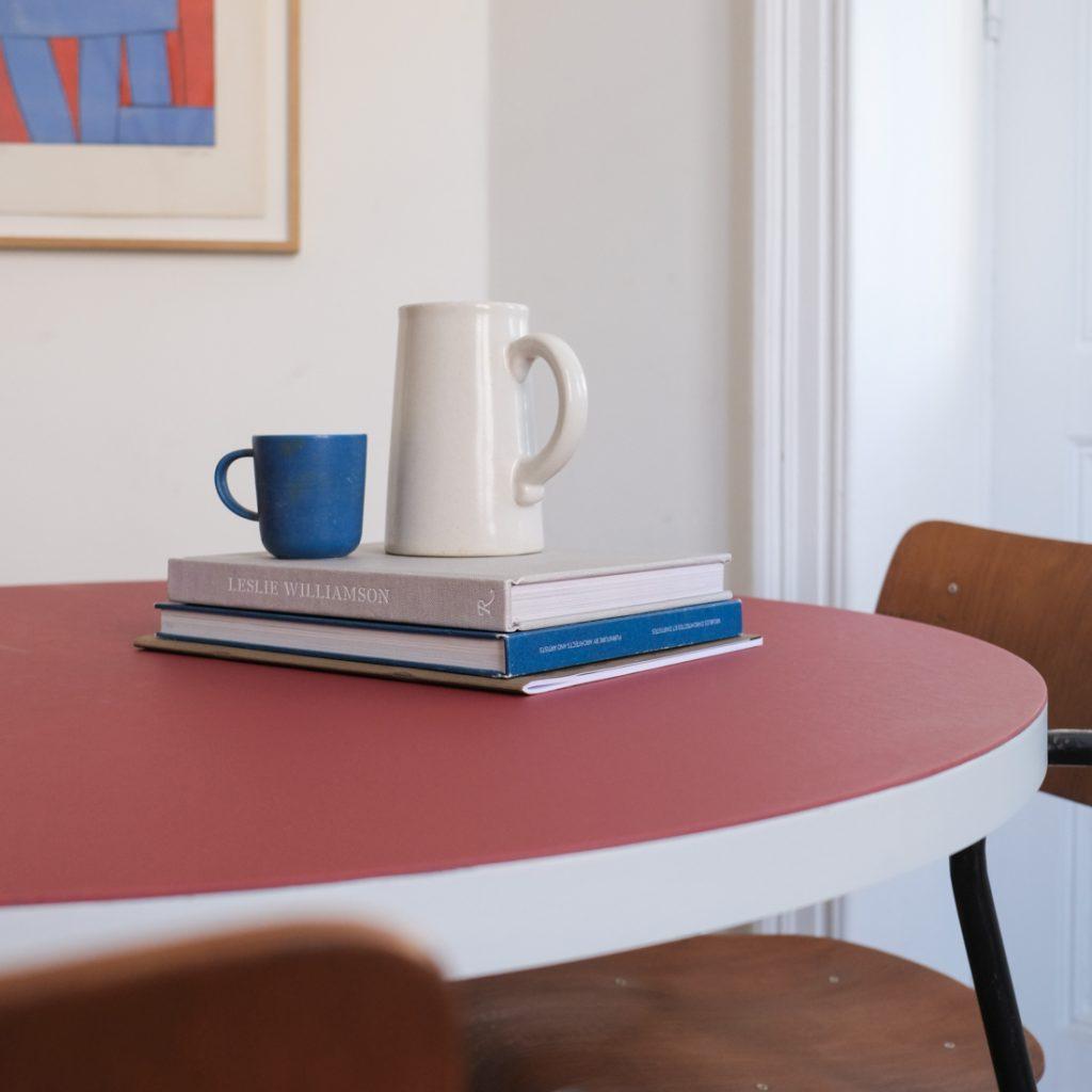 Table en lino rouge tomate